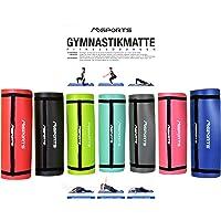 MSPORTS Gymnastikmatte Studio 183 x 61 x 1 cm oder 183 x 61 x 1,5 cm | inkl. Übungsposter und Tragegurte | Hautfreundliche - Phthalatfreie Fitnessmatte weich | Yogamatte