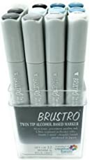 Brustro Twin Tip Alcohol Based Marker Set of 12 Warm & Blue Grey Shades