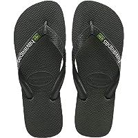 Havaianas Mens Brasil Logo Summer Flip Flops Sandal Slip On Flats - Black