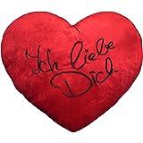 """Plüschkissen extra groß ca. 60 cm rotes Herz Kissen incl. Füllung bestickt mit """"Ich liebe Dich"""""""