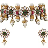 Matushri Art South Indian Style Pearl Jewelry Gold Plate Antique Choker For Womens And Girls