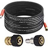M MINGLE Pressure Washer Hose 50 Feet X 3/8 Inch, High Tensile Wire Braided, with 2 Quick Connect Kits, Compatible M22 14mm a