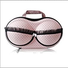 Mangalam New-Bra Bag - Pink and Black Point