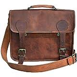 33 cm Hecha a mano Marron elegante Vintage Bolso de cuero del mensajero cada día Bolso de hombro cartera para tablets, ipad,