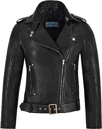 Giacca in Pelle da Donna Stile Motociclista Black Rock Chick Designer Real Lambskin 1122
