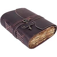 Handmade Vintage Leather Journal - Vintage Deckle Edge Paper Notebook – Vintage Key Closure - Premium Antique Diary…