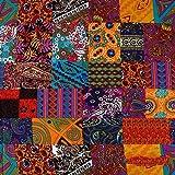 Rancheng 50cmx150cm Tissu en Coton Lin Patchwork Imprimé Floral Tissus au Metres DIY Couture pour Costume National Vêtements