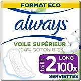 Always Cotton Protection, Serviettes Hygiéniques Ultra Long, Taille 2 avec Ailettes, Format Eco x100 (10 packs de 10 unités)