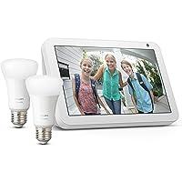 Echo Show 8 - Tessuto grigio chiaro + Lampadine intelligenti a LED Philips Hue White, confezione da 2 lampadine…