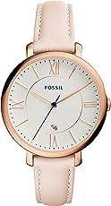 Fossil Jacqueline Leder Armbanduhr Damen rosa / Mit Edelstahlgehäuse roségold, Quarz Uhrwerk & analoger Datumsanzeige - idealer Begleiter für jede Gelegenheit