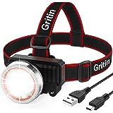 Gritin LED-hoofdzaklamp, USB-oplaadbare koplamp, superheldere 2000 lumen, bewegingssensor, 90° instelbaar draaien, 4 lichtmod