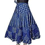Mudrika Women's Mandala Hand Block Printed Long Wrap Around Skirt (Multicolor,Free Size)