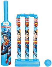 Zitto Superman Mini Cricket Set with 1 Plastic Bat and Ball, 3 Wickets, Base and Bail