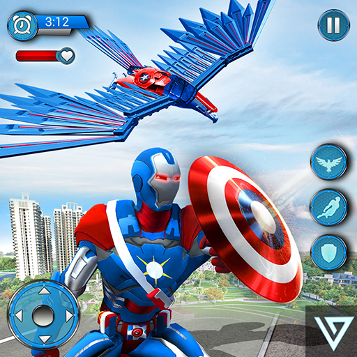 Super Hero Fliegende Kapitän Robot American City War