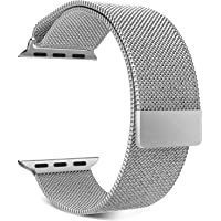 Priefy Loop Strap Stainless Steel Milanese with Magnetic Lock Buckle Compatible with iWatch Series 1 2 3 {38MM Silver}