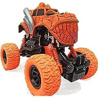 Popsugar Pull Back Dinosaur Monster Truck with Big Rubber Wheels for Kids, Orange