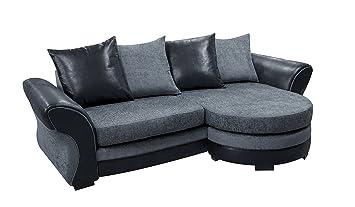 Bolero Corner Sofa Chenille Fabric Brown Or Black Grey Scatter Back  Cushions (Grey)