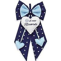 Fiocco nascita bimbo blu a cuori da personalizzare. coccarda per nascite personalizzata con nome o frase ricamata…