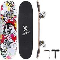 Colmanda Skateboard Completo 31 Inch, Skateboard a Doppio Calcio in Acero Canadese a 7 Strati, Skateboard in Legno con…