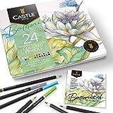 Castle Arts, set di 24 matite colorate, colori perfetti per 'Botanico'. Set di matite da disegno, schizzi, matite da disegno.