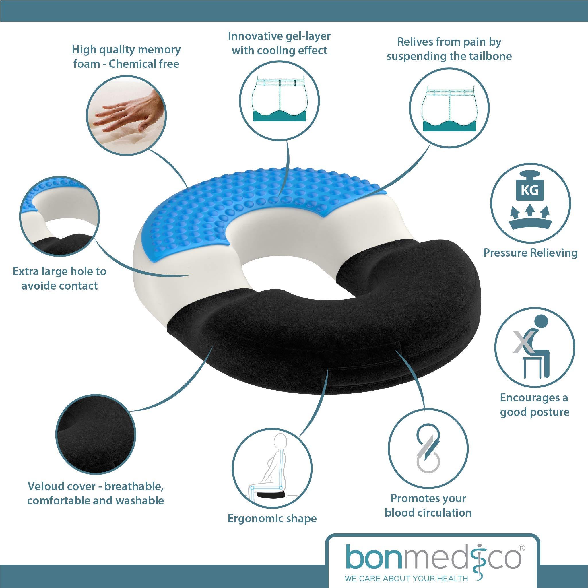 Cuscino Per Seduta Corretta.Bonmedico Cuscino Da Seduta Ortopedico Per Emorroidi Con Strato In