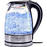 Germany technology ADLER Glass Kettle 2200W Electric tea water boiler 1.7 L BPA Free with Blue LED Indicator Light- safety em