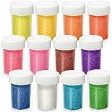 Aslanka Lot de 12 couleurs de poudre pailletée pailletée - Poudre pailletée colorée pour loisirs créatifs, décoration, cartes