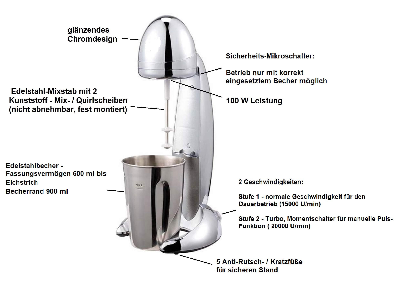 MIA-ProBlend-Milchshaker-Eiweishaker-elektrisch-100W-4in1-Frappe-Mixer-Milch-Shaker-Cocktail-Mixer-Eiweimixer-2-Stufen-Standmixer-Milchmixer-900ml-BecherChromTestsieger-gut