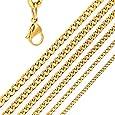 DonDon Collana Uomo in Acciaio Inox con Catena Colore Oro // Disponibile in Diverse Misure