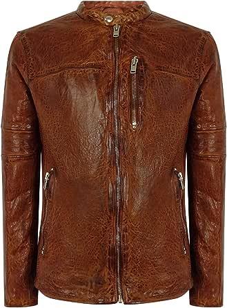Mens Fitted Vintage Navy Tan Washed Real Leather Jacket Nehru Grandad Collar Short