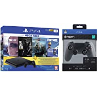 PS4 1TB Slim console (Free Games : Detroit /The Last of Us/God of War/Fortnight Voucher /PSN 3 Month Inside the Box & Nacon Asymmetric Wireless Controller for PS4