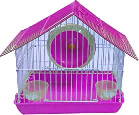 JAINSONS PET PRODUCTS Playhouse/Cage for Dwarf Hamster/Gerbil / Mice with Exercise Wheel & Bowls for Water & Food (Pink)