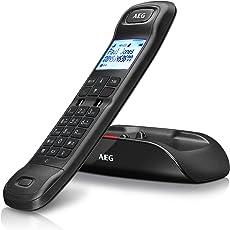 """AEG Tongoo 15 - Schnurloses 1.6"""" Design DECT-Telefon mit Freisprecheinrichtung, Anrufbeantworter und Anruf Blocker, Schwarz"""