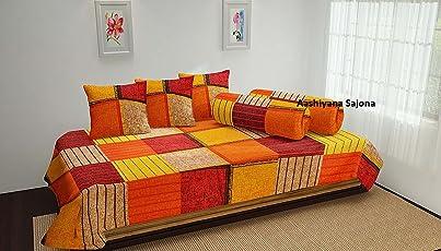 Aashiyana Sajona Cotton 6-Piece Diwan Set - 90 '' x 60 '', Orange