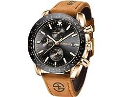 Montre Homme Montres Etanche Chronographe Lumineuses Classique Montres Bracelet en Cuir Grand Cadran Date Analogique et Anti-