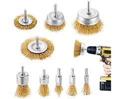 DazSpirit 9 Pezzi spazzola metallica di ferro spazzole per trapano con kit spazzola con codolo da 1/4 di pollice per rimozion
