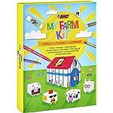 BIC 997918 Kids My Farm Colouring Kit con 12 Pennarelli in Feltro, 12 Pastelli a Cera, 12 Matite per Colorare, 1 Gomma, 1 Col