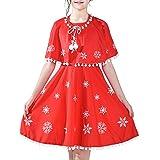 Sunny Fashion Vestito Bambina Rosso Mantellina Mantello Natale Anno Vacanza Festa 4-14 Anni