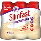 SlimFast High Protein Meal Replacement Ready-to-Drink Shake, Simply Vanilla Flavour, 325 ml, Pack of 6