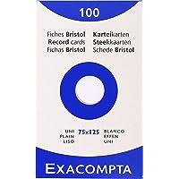 Exacompta 13301E Etui 100 Fiches Bristol Blanc 75/125