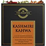 The Tea Heaven- Kashmiri Kahwa-Blended with Almonds, Saffron, Spices- 100 % Natural Ingredients- 18 Tea Bags(2 Free…