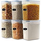 JUCJET 1.6L boîtes de Conservation Alimentaire sans BPA de Nourriture en Plastique avec Couvercle, Boîtes à céréales Ensemble