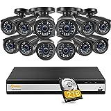Anlapus 12x 1080P Outdoor CCTV Überwachungskamera Set mit 16CH 1080P H.265+ DVR 2TB Festplatte für Sicherheit Videoüberwachun