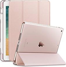 Infiland iPad 9.7 2018 Hülle Case mit Pencil Halter, Superleicht Transluzent mattierte Rückenschale Smart Schutzhülle Case mit Auto Schlaf / Wach Funktion und Pen Halter für iPad 9.7 Zoll 2018 Tablet(Tablet und Apple Bleistift sind NICHT enthalten),Rosa Goldene