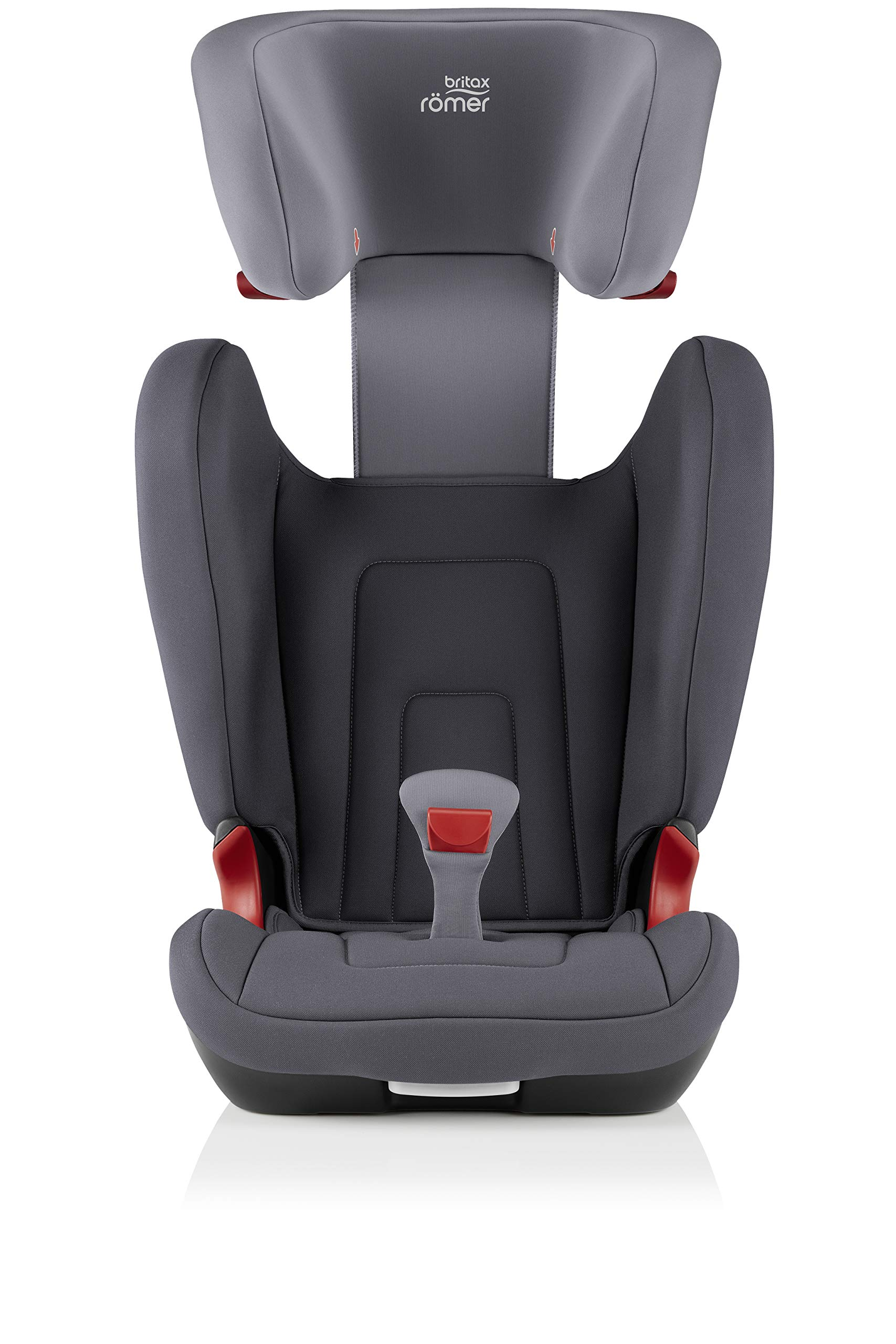 Britax Römer car seat 15-36 kg, KIDFIX 2 R Isofix group 2/3, Storm Grey Britax Römer Secure guard - helps to protect your child's delicate abdominal area by adding an extra - a 4th - contact point to the 3-point seat belt. High back booster - protects your child in 3 ways: provides head to hip protection; belt guides provide correct positioning of the seat belt and the padded headrest provides safety and comfort. Easy adjustable v-shaped backrest - designed to give optimum support to your growing child, the v-shaped backrest provides more space for their back and shoulders. 6