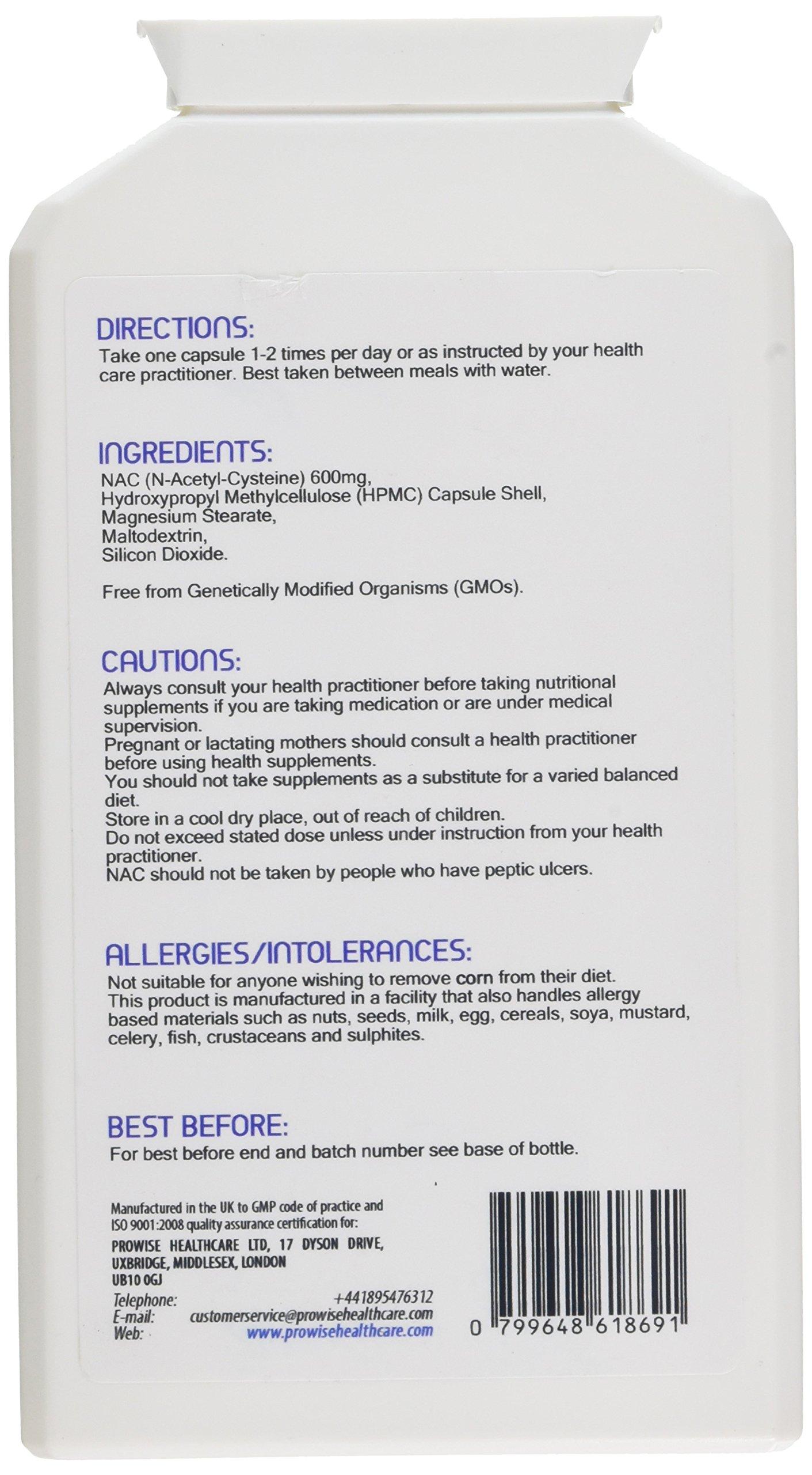NAC N-acetil-cisteina 600mg 120 capsule - Prodotto nel Regno Unito | Standard GMP di Prowise Healthcare | Adatto a… 3 spesavip