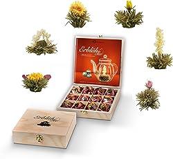 Creano Teeblumen Geschenkset in Teekiste aus Holz, 12 ErblühTee in 6 Sorten | Weißtee