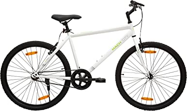 Mach City iBike Single Speed 26T Single Speed Steel Hybrid Cycle (Ivory White) 19inch Frame