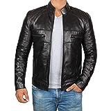 Decrum Motorcycle Mens Leather Jacket - Real Lambskin Biker Leather Jacket for Men