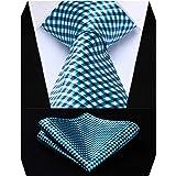 HISDERN Controllare Party Wedding Tie Fazzoletto Cravatta da uomo & Set tascabile